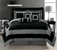 Oversize Black Grey Patchwork Micro Suede Bed in a Bag CAL KING Comforter Set
