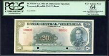 Venezuela 20 Bolivares 1941 - 59 Specimen SCWPM#32s - PCGS Choice New 64 - Trial