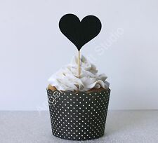 6 Black Glitter Heart Cupcake Topper/Picks - Love Wedding Engagement-DoubleSided