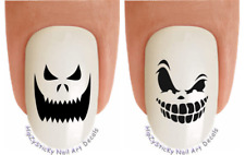 """Nail Decals #749H HALLOWEEN """"Scary Pumpkin Face 2"""" WaterSlide Nail Art Transfers"""