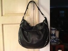 B MAKOWSKY BLACK LEATHER HOBO SHOULDER BAG HANDBAG