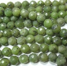 """Canadian Nephrite Green Jade 8mm Faceted Round Beads 15.5"""" Natural Color"""