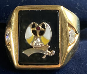 Men's Gold Color Stainless Steel Masonic Ring Band Size 12 Diamonique Stone