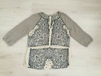 MAISON SCOTCH PIONEER TOP US 4 UK 8 CREPE PAISLEY POLKA DOT NAVY CREAM