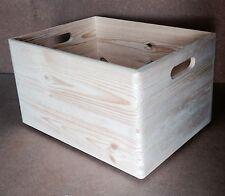 * Natural finish open pine wood box 40x30x23cm DD166 storage display parts  (F)