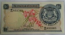 Singapore $1 Orchid Series Banknote HSS WO Seal B/44 833505 UNC