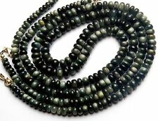 """NATURAL CHRYSOBERYL CAT'S EYE BLACK 3-6MM RONDELLE BEADS NECKLACE 116CTS. 17"""""""