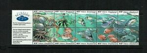 New Zealand: 1993, Marine Life, Booklet Pane + labels, MNH