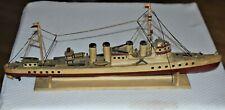 "Antique Folk Art Navy Crew Carving Spanish American War Cruiser War Ship 24"" 2/3"