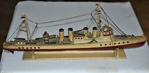 "Old  Model Maritime Folk Art Carving Spanish American War Cruiser Ship 24""  2/3"