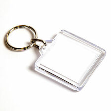 10 QUALITY BLANK CLEAR SQUARE KEYRING'S 32mm x 32mm