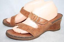 ARIAT 20983 Wo's 10M Brown Lizard Snake Embossed Wedge Thong Toe Loop Sandal