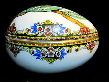 Antique Numbered Andre Francois Limoges Porcelain Egg Vanity Trinket Box 1919-34