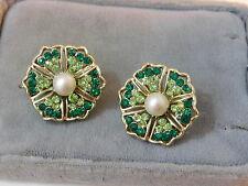 Vintage Signed Coro Emerlad Green Rhinestone Pearl Flower clip Earrings 12g 13
