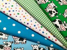 Fat Quarters 5 Fabric Bundles Gingham Craft Sewing Bunting Green Blue Cows Stars