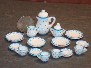 Dollhouse Miniature Tea Set White Blue 17 pc Teapot Plates 1:12 inch scale G76