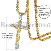 Men Boys Stainless Steel Jesus Christ Cross Crucifix Pendant Prayer Necklace 22""