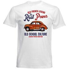 VINTAGE Francese AUTO RENAULT 4CV-Nuovo T-shirt di cotone