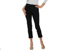 Isaac Mizrahi Live! Regular 24/7 Denim Fly Front Ankle Jeans Color Black Size 14