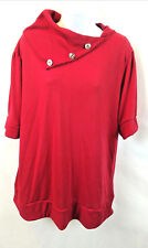 NYC Women's Sweater Top 3/4 Sleeve Button Cowl Neck Polyester Red Plus Size 3X