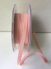 "1/4"" Twill/Chevron Stripes Ribbon - May Arts -382-14-17 -Pink/White - 5 yds"