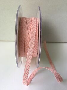 "1/4"" Twill/Chevron Stripes Ribbon - May Arts - 382-14-17 -Peach/White - 6 yds"