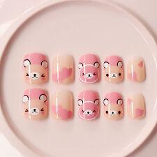 24Pcs Pink Bears Kawaii Short False Nails Acrylic Impress Nails Nail Art Supply