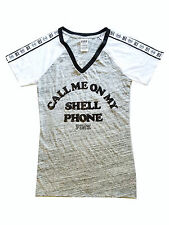 """VICTORIA'S SECRET PINK BLING """"CALL ME ON MY SHELL PHONE"""" HI T Shirt Small"""