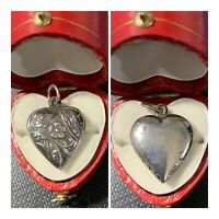 Vintage 1940's Sterling Silver Puffy Heart Bracelet Charm Flowers Vines Leaves
