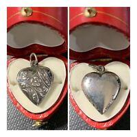 Vintage 1940's Sterling Silver Puffy Heart Bracelet Charm Flowers Vines Leaves