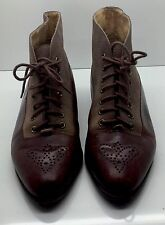 PAPPAGALLO Vtg Brown Leather Wingtip Lace-Up Granny Steam Punk Ankle Boots 6.5M