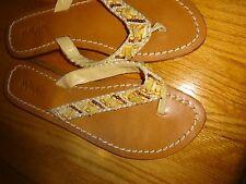 MANGOS Tan & Cream Beaded Flat Flip Flip Thong Sandals Size 8 Made in Bali NEW
