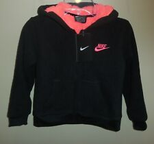 Nike Girls Size 6X Fleece Jacket Coat Black Pink New Hooded 36E405-023