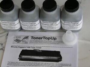 Four Bottles Toner Refill Konica Minolta Pagepro 1400W Dell 1125 9J04202 9J04203
