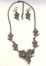 Antique Silver Plated Flower Necklace Earrings Green Crystal 19 inches USASeller