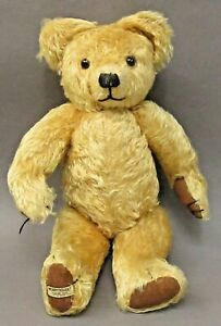 """1930's Merrythought jointed stuffed 15"""" golden TEDDY BEAR w/early foot tag"""