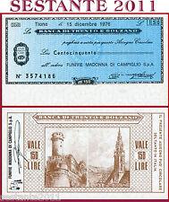 BANCA TRENTO E BOLZANO LIRE 150 15.12. 1976 FUNIVIE MADONNA CAMPIGLIO FDS B175