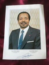 Autograph PAUL BIYA-2nd President CAMEROON-handsigned off. Big-Size-card-80ies