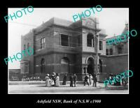 OLD LARGE HISTORIC PHOTO OF ASHFIELD NSW BANK OF NSW BUILDING c1900