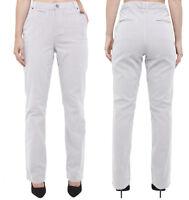 Ladies ex M&S Per una Striped Trousers Straight Leg Added Stretch Navy Mix 8-24