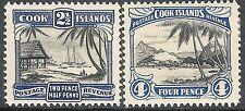 Cook Islands 1932 black/deep-blue 2.5d black/bright-blue 4d  mint p13  SG102/103