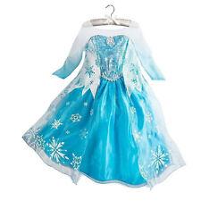 Girl Kid Dress Princess Anna Elsa Frozen Costume Party Dresses Crown Cosplay Set