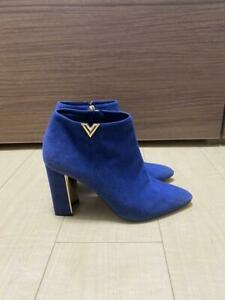 LOUIS VUITTON short boots purple size 37 half Authentic #6415Q