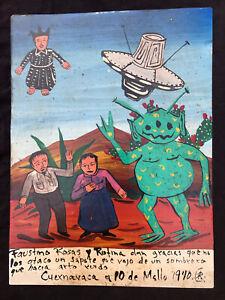 Mexican Folk Art Friendly Alien Creature Visits Campesinos Ex Voto Retablo
