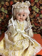 Drink & Wet Sweet Vtg Baby Doll 60's 70's Platinum Hair wearing handmade outfit