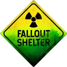 Square Tin Sign Fallout Shelter Green 30.5 x 30.5cm