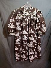 LaJenns Girls Brown/White Printed Dress with Green Pipping L/S Size 5