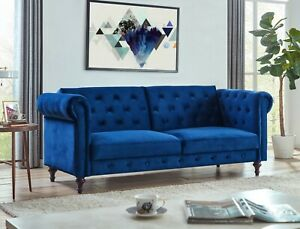 Sofa Bed Velvet Chesterfield 3 Seater Style Green Blue Grey Sofabed Button Back