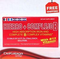 HIERRO Y COMPLEJO B 15 VIALES / IRON AND COMPLEX B 15 VIALS ** ORIGINAL **