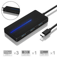 TOPESEL Ultra Slim 3 Port Type C USB 3.0 Data Hub  Charger+TF+SD Card For Laptop